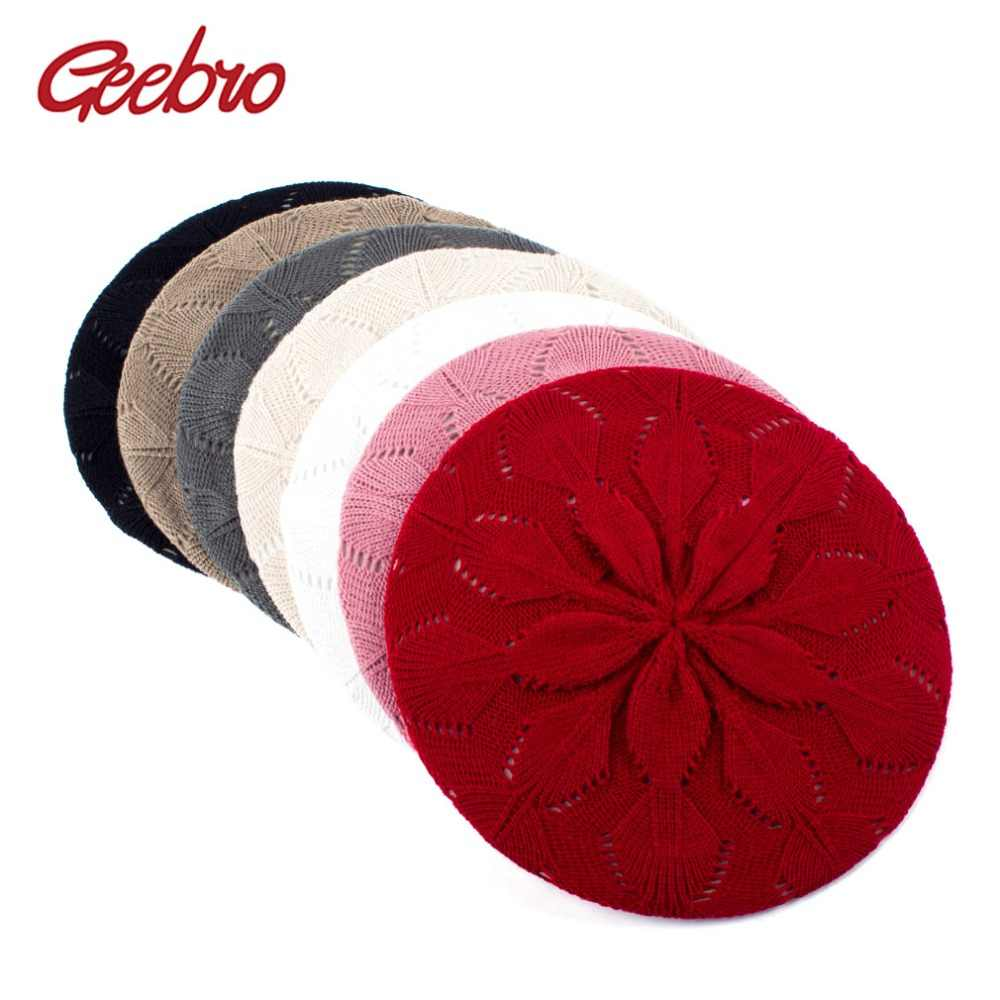 Geebro Women's Plain Color Knitted Beret Hat Spring Casual Soft Acrylic Berets for Women Ladies French Artist Beanie Beret Hats