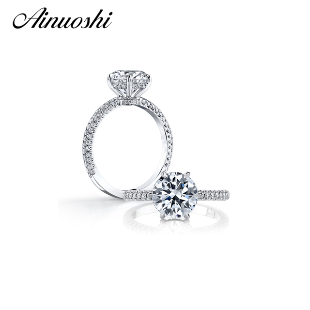 AINOUSHI Hot Selling Ring with 2.5 ct Heart and Arrow Sona Created Amazing Women Ring for Wedding Enagement