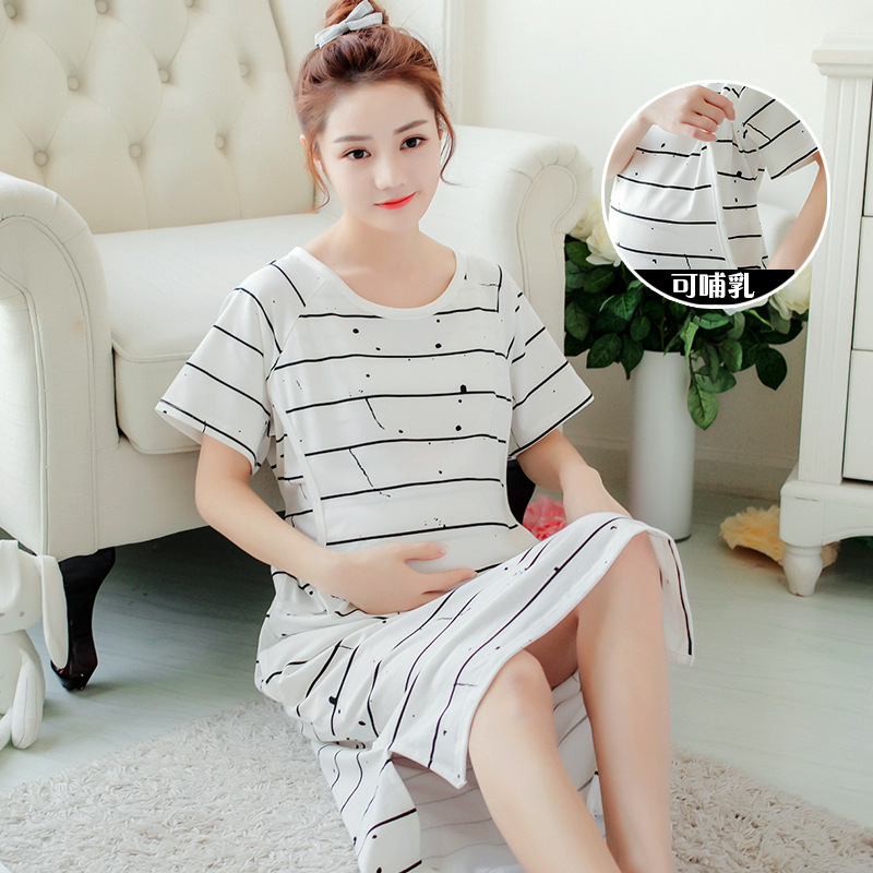 3XL 4XL Summer Maternity Nightgown Loose Breastfeeding Sleepwear for Pregnant Women Pregnancy Nursing Night Dress Nightwear