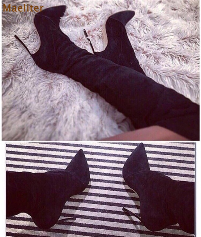 Здесь можно купить  Women Sexy Black Suede Thign High Long Boots Pointy Toe Thin Metal Heels Dress Boots Nightclub Girls Favorite Stage Boots   Обувь