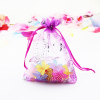 Wholesale 100pcs Hot Pink Organza Jewelry Bag 9x12cm Small Butterfly Design Candy Gift Jewelry Packaging Bags Drawstring Pouch