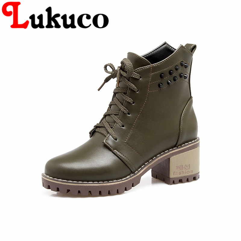 Lukuco women ankle martin boots rivets and cross-tied design spring/autumn high quality PU made high hoof heel shoes