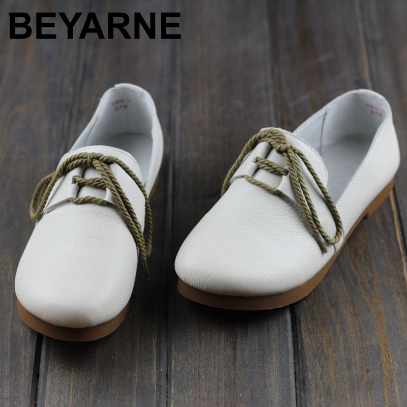 BEYARNE Womens Shoes Plain Toe Slip on Ballerina Flats 100% Authentic Leather Ladies Shoes Handmade Moccasins Footwear women shoes slip on womens flats shoes loafers faux suede womens ballerina flats casual comfort ladies shoes plus size 35 43