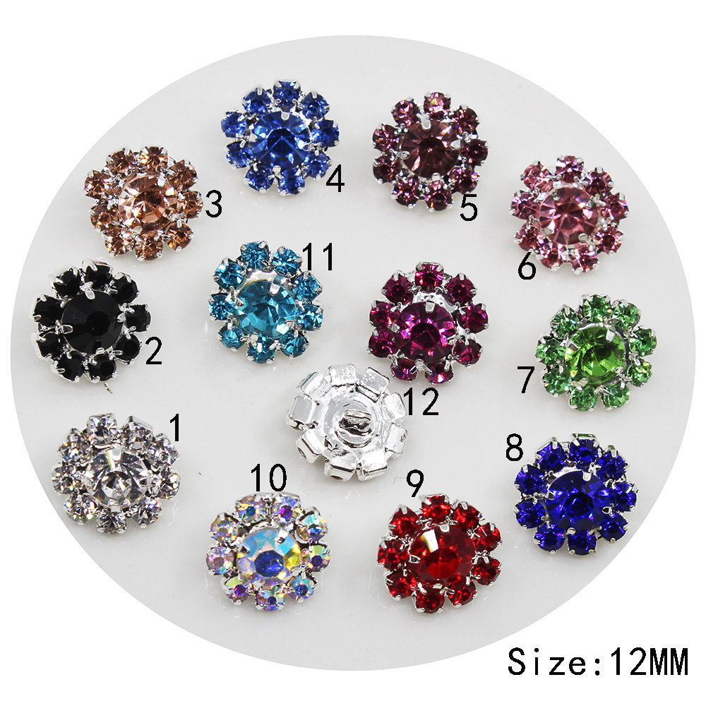 Silver Coat Diamond Sewing Shank Button 10pc 12mm Round Rhinestone Button Metal Wedding Invitations Decoration Buttons Hot Sale 50-70% OFF