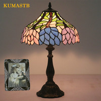 Stained Glass Table Lamps European Retro Creative Bedside Desk Light Bed Decor Table Lamp Living Room Study Bar Cafe Lampes
