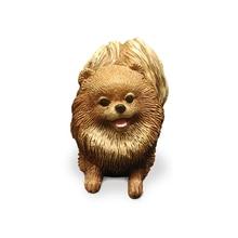 Официальная мини-версия Pomeranian Dog моделирование модель автомобиля ремесло коллекция украшений для дома ремесла украшение креативный домашн...
