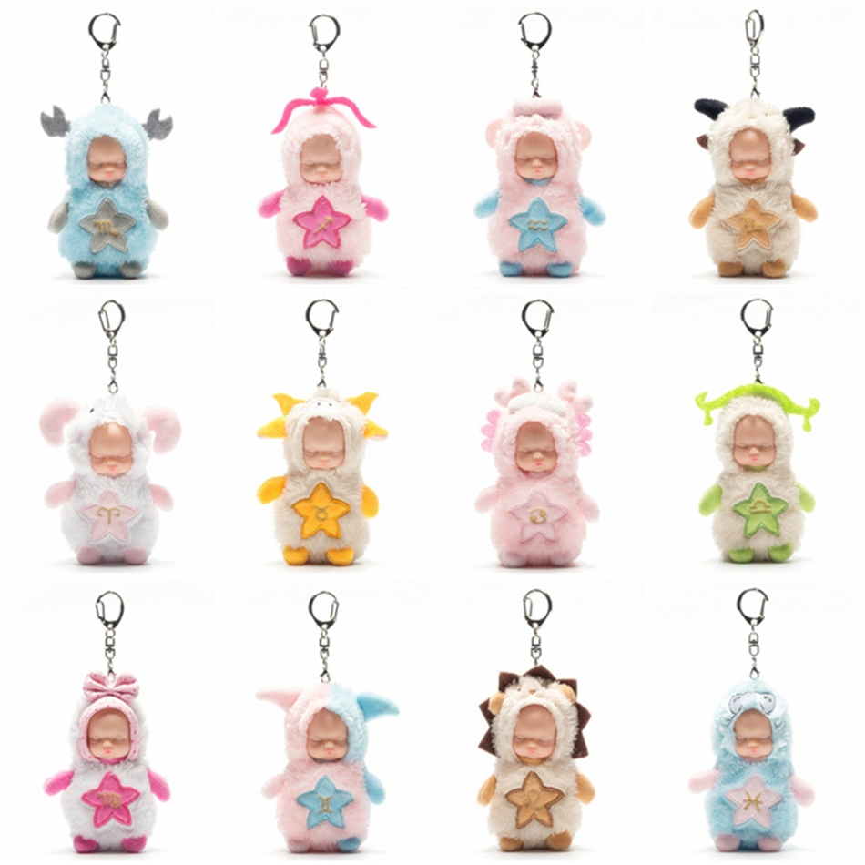 2017 Kawaii Baby Plush Stuffed Key Chain Toys For Children Soft Constellation Eyes Closed Doll Toy Best Birthday Gift Brinquedos ucanaan plush stuffed toys for children kawaii soft 6 colors rabbit bear best birthday gifts for friends doll reborn brinquedos