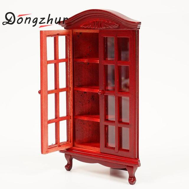 Charmant Dongzhur 1:12 Dollhouse Miniature Figurines Furniture Wood Red Glass  Cabinet Display Ornaments Decoration Crafts