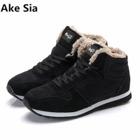 Ake Sia 2017 Fashion Men Boots Winter Boots Botas Hombre Winter Shoes Fur Lace Up Warm
