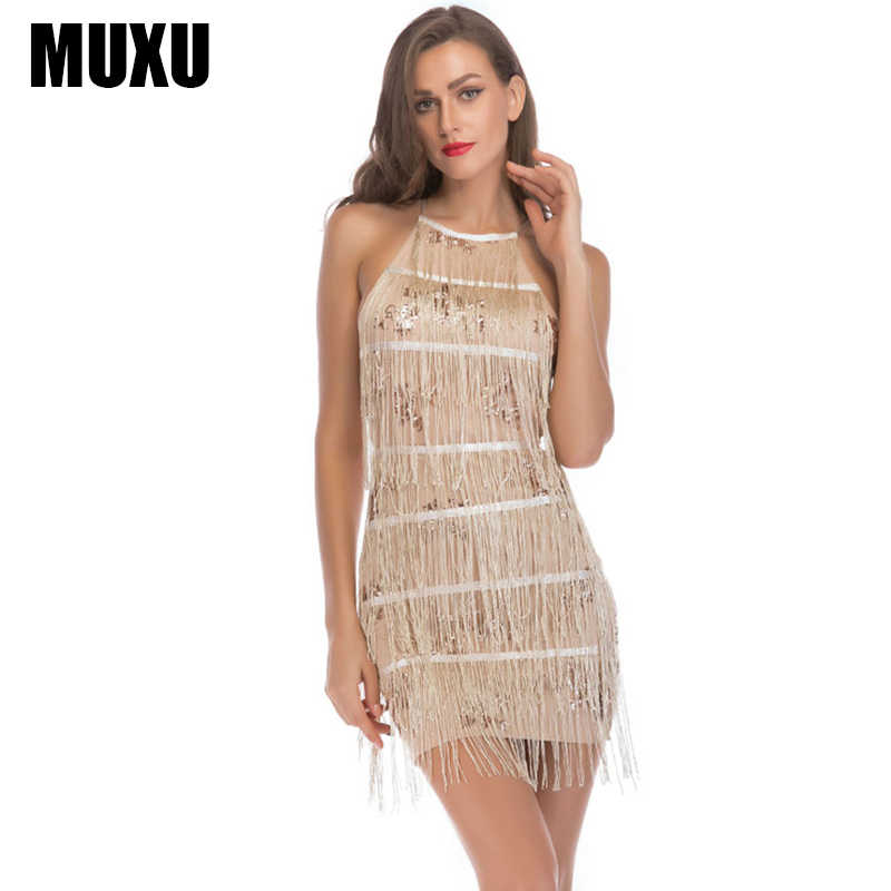 MUXU fashion gold sequin dress backless patchwork suspender dress women  clothing elbise short sundress glitter fringe c2338a1f7616
