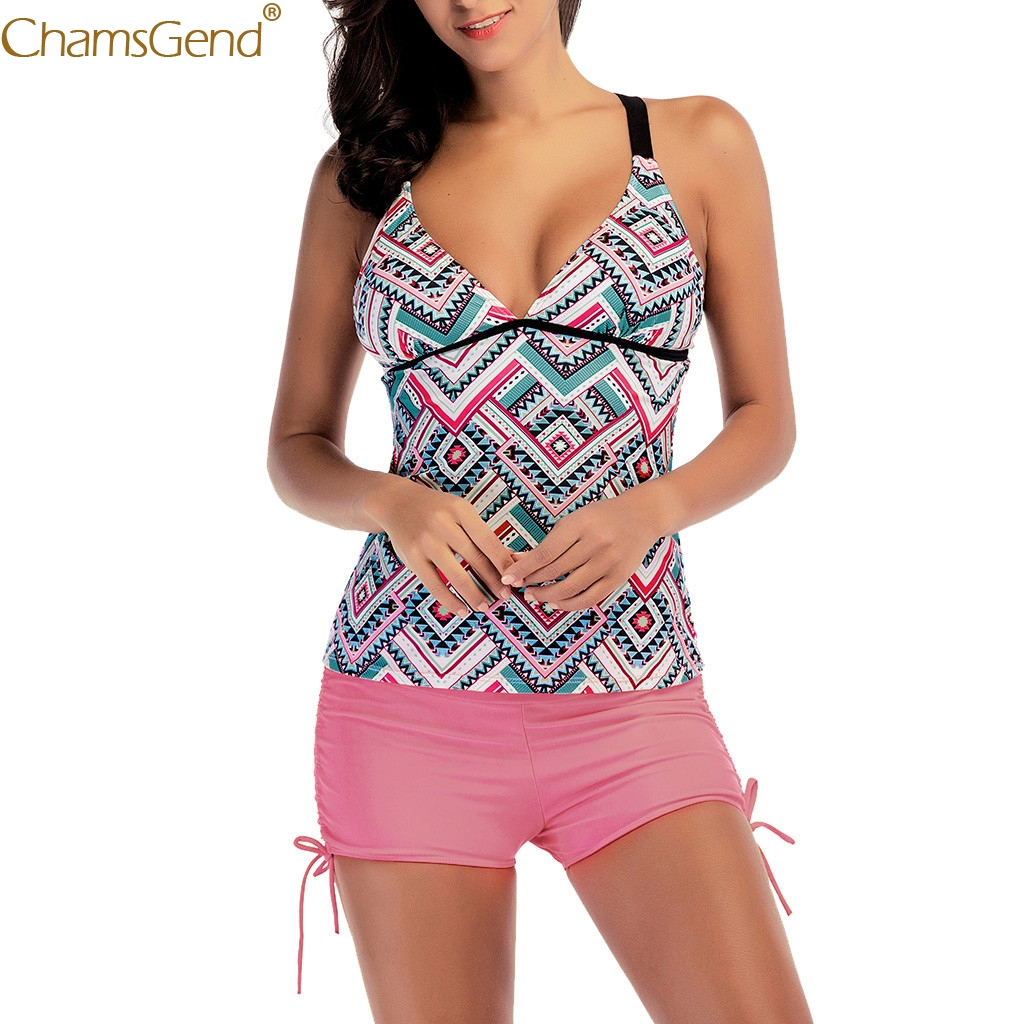 Women Siamese Set sexy v neck bodysuits Push-Up Print Beach bodysuits Playsuits Wire Free Casual Summer playsuits tops Jun23