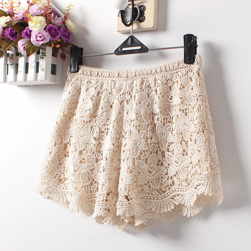 Summer 2018 New Women Sexy Lace   Shorts   Cotton Floral Lace Crochet Mini   Shorts   Leisure   Short   Trousers Plus SIZE