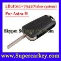 Frete Grátis (1 pcs) 2 Button Flip Remoto Chave Para Vauxhall Opel Astra 2008 2009 com PCF7941