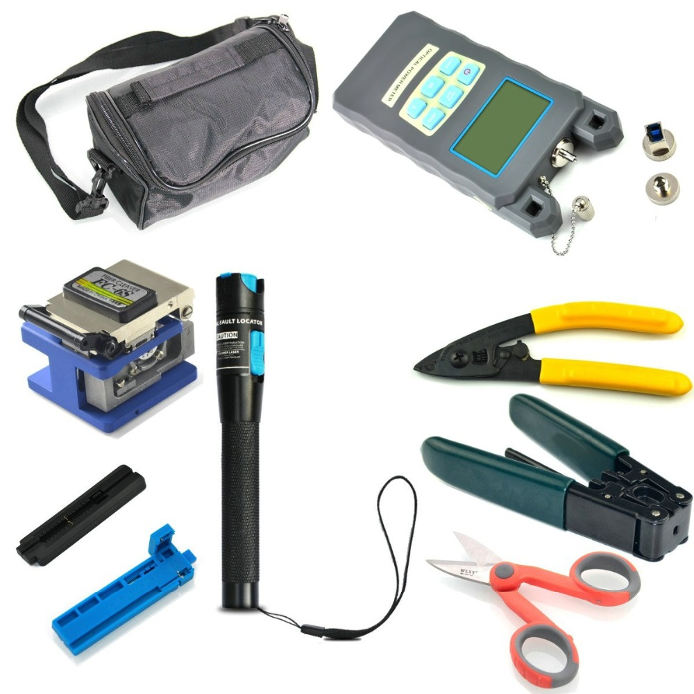 Fiber Optic FTTH Tool Kit FC-6S Cleaver Optical Power Meter 1MW Visual Finder fiber end face meter handheld fiber optic microscope apc end face magnifier sc fc st diagnostic tool monocular zoom 400x 200x