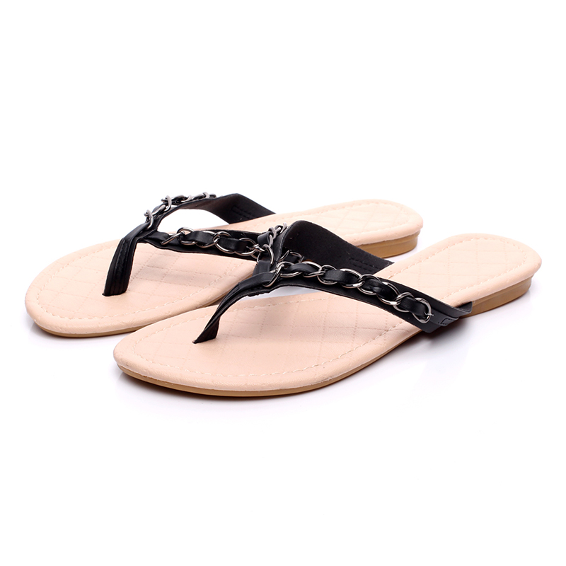 New 2017 Summer Style Flip Flops  Zapatos Mujer Fashion Beach Flat Shoes Woman Sandals Chain Slippers  Free Shipping new 1pair summer fashion women knotbow woman sandals shoes beach flat wedge flip flops lady girls slippers free shipping
