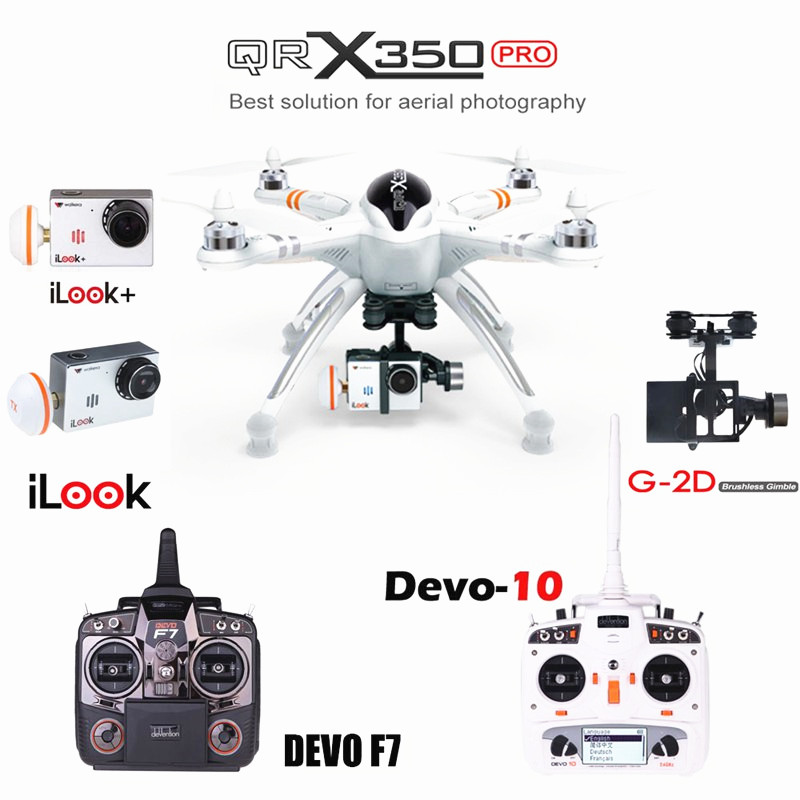 Walkera QR X350 Pro With iLook iLook+ Camera GPS Drone RTF FPV Drone UFO DEVO 10/7/F7 Transmissor RC Helicopter Quadcopter walkera g 2d camera gimbal for ilook ilook gopro 3 plastic version