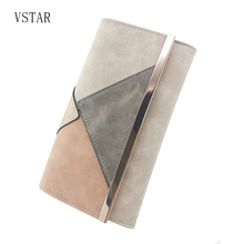 Silver Suede Pu Patchwork Fashion Design Women Wallet Female Purse with Long High Quality metal bar