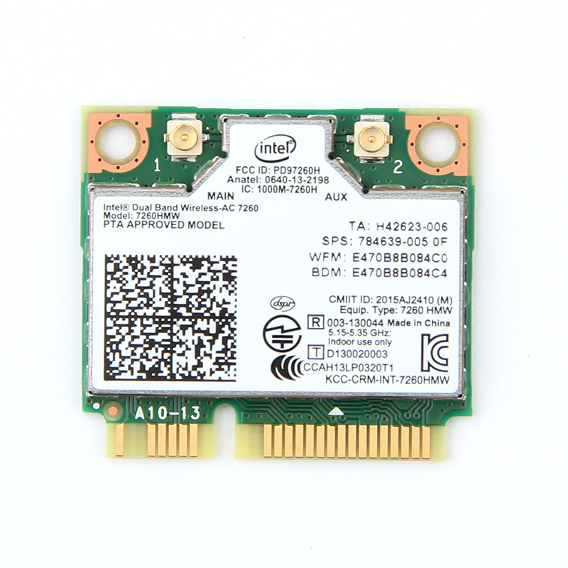 Dual Band Wireless Intel 7260 7260HMW Mini PCI-E Wifi Card 867Mbps 80211ac 24G5Ghz Bluetooth 40 Wi-Fi Adapter For Laptop