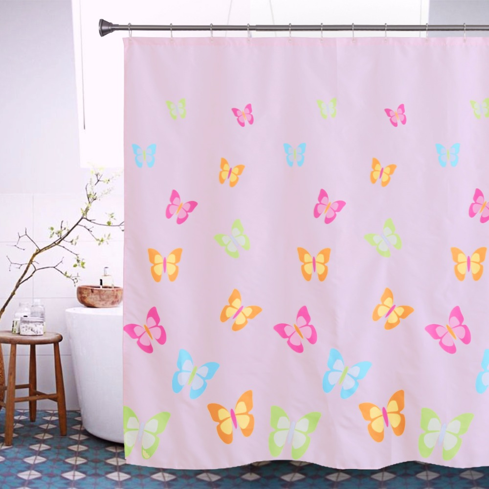 Colorful butterfly shower curtain polyester waterproof for Colorful bathroom decor