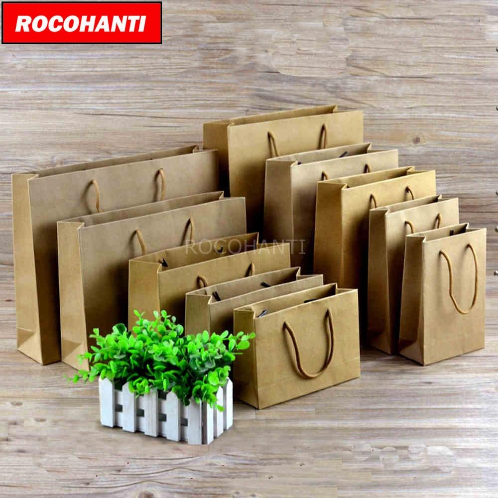 50Pcs Thick 250grams Matte Kraft Paper Shopping Bags Custom LOGO Printed Accept F2123