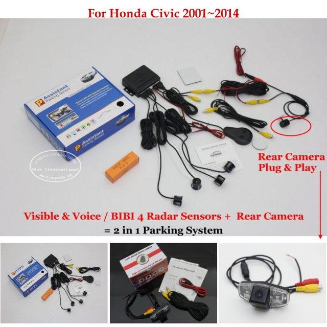 Rear View Back Up Camera + Car Parking Sensors = 2 in 1 Visual / BIBI Alarm Parking System For Honda Civic 2001~2014