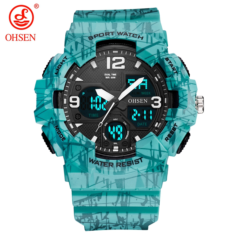 OHSEN Camouflage Army Military Watch Men Top Brand Luxury Electronic LED Sport Watches For Male Clock New Reloj Digital Hombre women watches wen reloj hombre sport high quality boys girls students time clock electronic digital lcd wrist sport watch 2