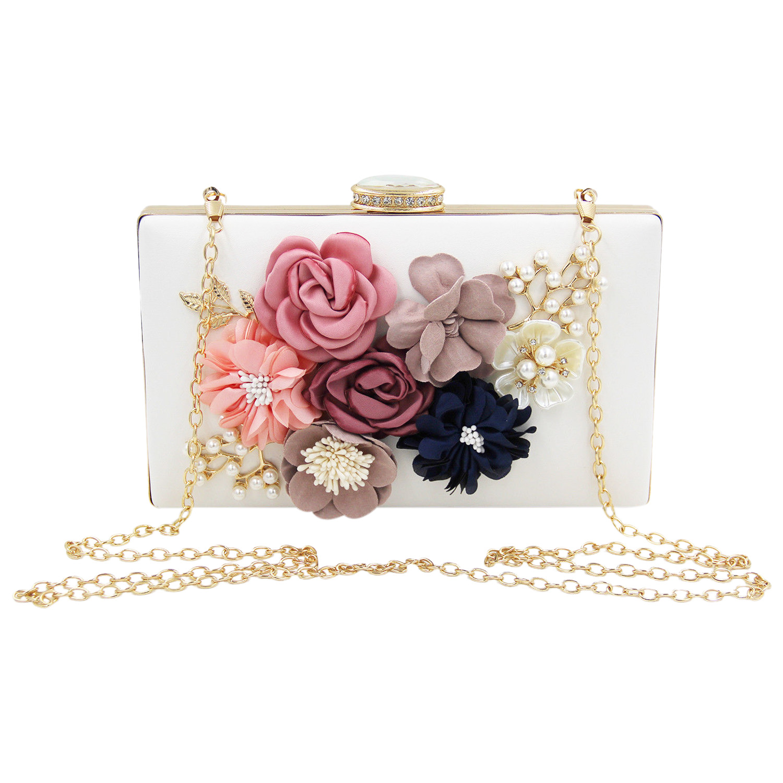 Women Clutch Bag Floral Party Purse Wedding Evening Handbags, White