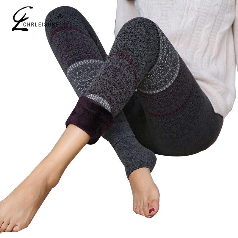 CHRLEISURE Fashion Totem Winter   Leggings   Women High Waist Warm   Legging   National Print Slimming Jeggings Winter Pants 5 Colors