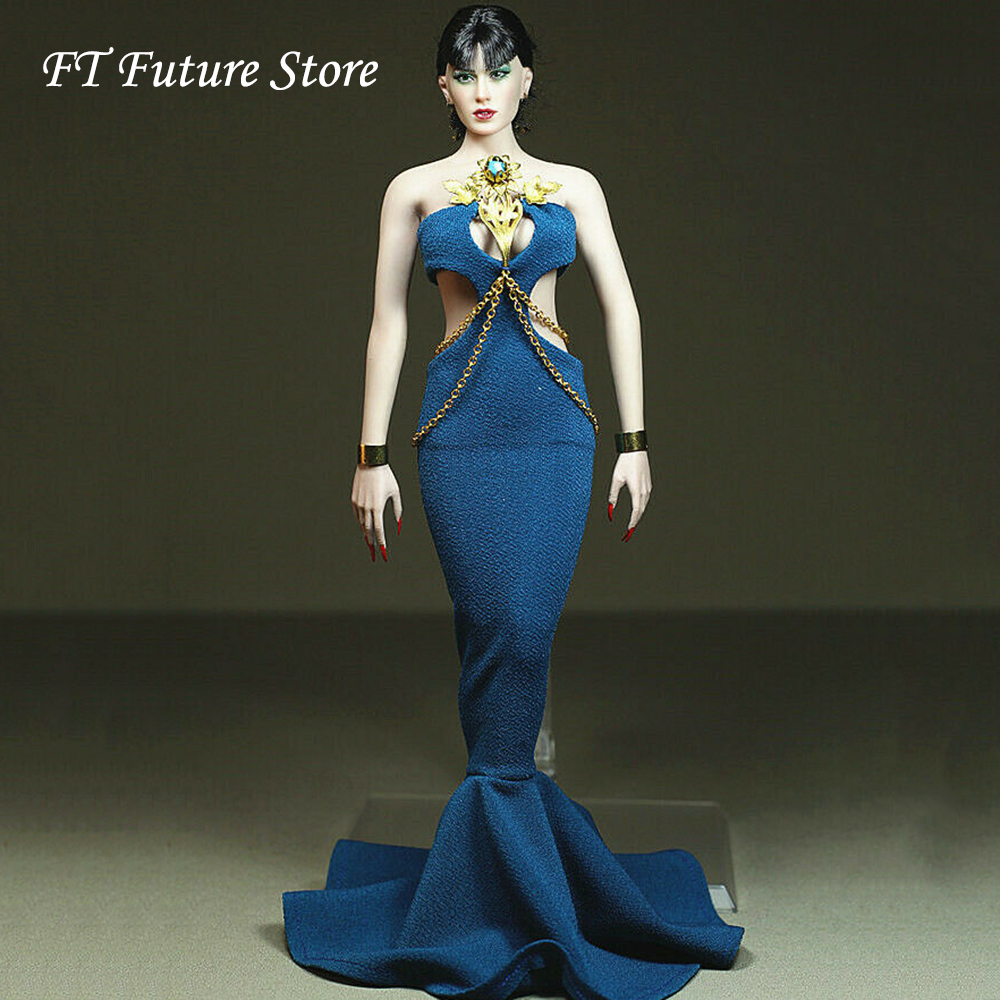 Custom Made 1/6 Scale Girl Female Figure Accessory Sexy Blue Dress Accessories Model for 12 Big Bust Action Figure BodyCustom Made 1/6 Scale Girl Female Figure Accessory Sexy Blue Dress Accessories Model for 12 Big Bust Action Figure Body