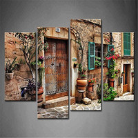 4 Panel Wall Art Streets Of Old Mediterranean Towns Flower Door Windows Painting On Canvas Architecture