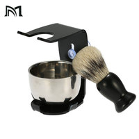 Men Shaving Brush Synthetic Barber Shaving Brush Badger Hair+Black Acrylic Stand+bowl Shaving Brush Stand Top Level Beauty Tools