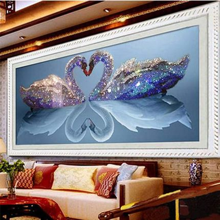 YIKEXIN 5D DIY Diamond Painting Animal Swan Cross Stitch
