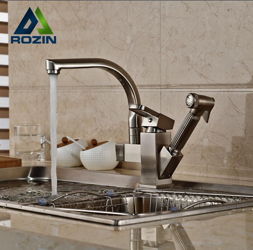 Deck Mount Pull Out Side Sprayer Kitchen Faucet Dual Spout Sink Mixer Tap Brushed Nickel swanstone dual mount composite 33x22x10 1 hole single bowl kitchen sink in tahiti ivory tahiti ivory