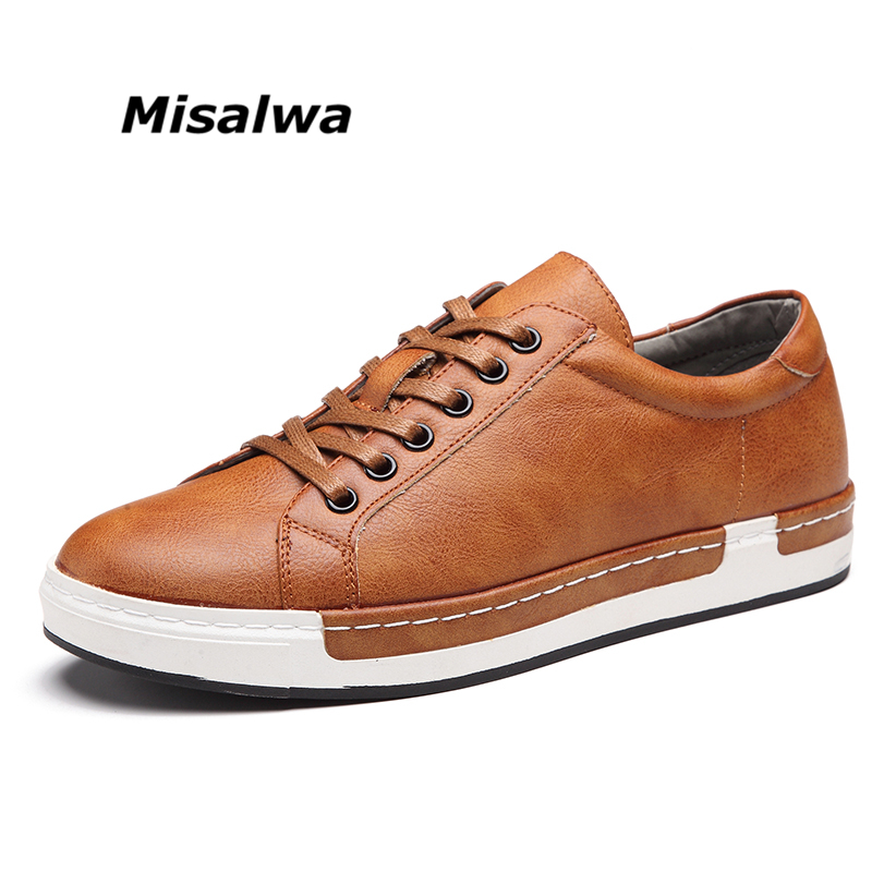 Misalwa Big Size 38-46 Men Flats Comfortable Casual Leather Shoes Spring Autumn Simple Stylish Lace-Up Male Oxford For Men stylish suede and tie up design casual shoes for men