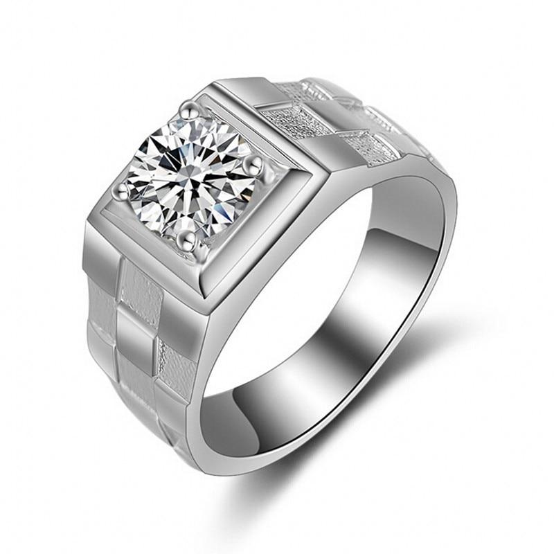 Atemberaubende Modeschmuck Handmade wedding Band ring für Männer 1ct 5A Zirkon cz 925 Sterling Silber männlich Engagement fingerring