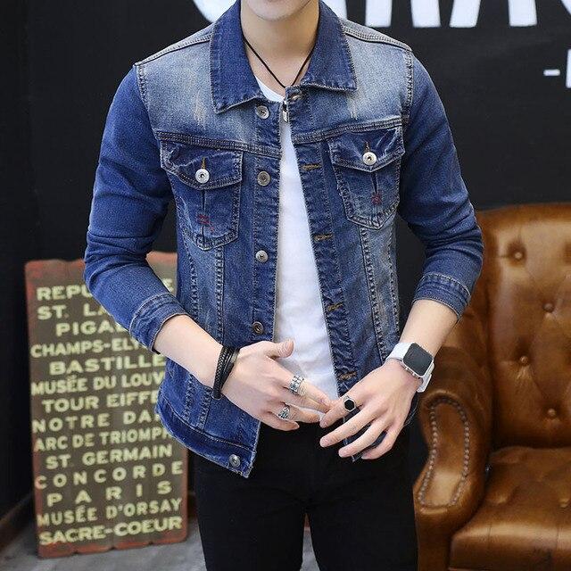1df0f1c2de1 new 2018 autumn wear men's denim jacket fashion, cultivate one's morality  personality Jean jacket