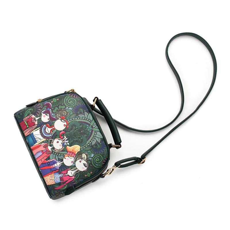 ACEPERCH женская дизайнерская Роскошная брендовая Высококачественная женская сумка из искусственной кожи зеленого цвета с мультипликационным принтом, сумка на плечо, женские сумки