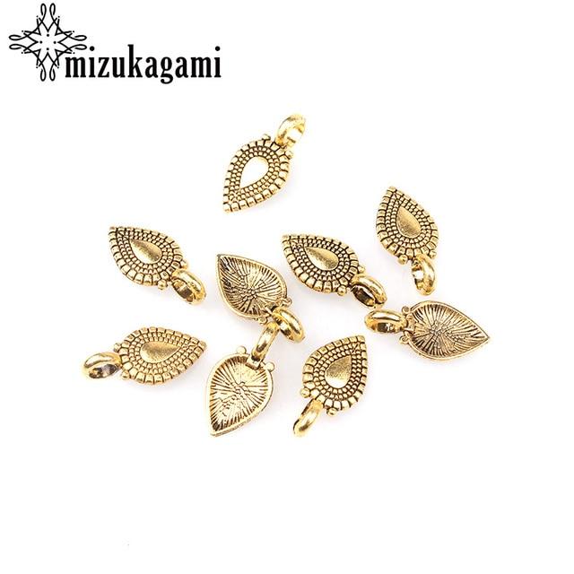 20pcs 18MM*10MM Retro Golden Plated Zinc Alloy heart-shaped Water Drop Charms Pe