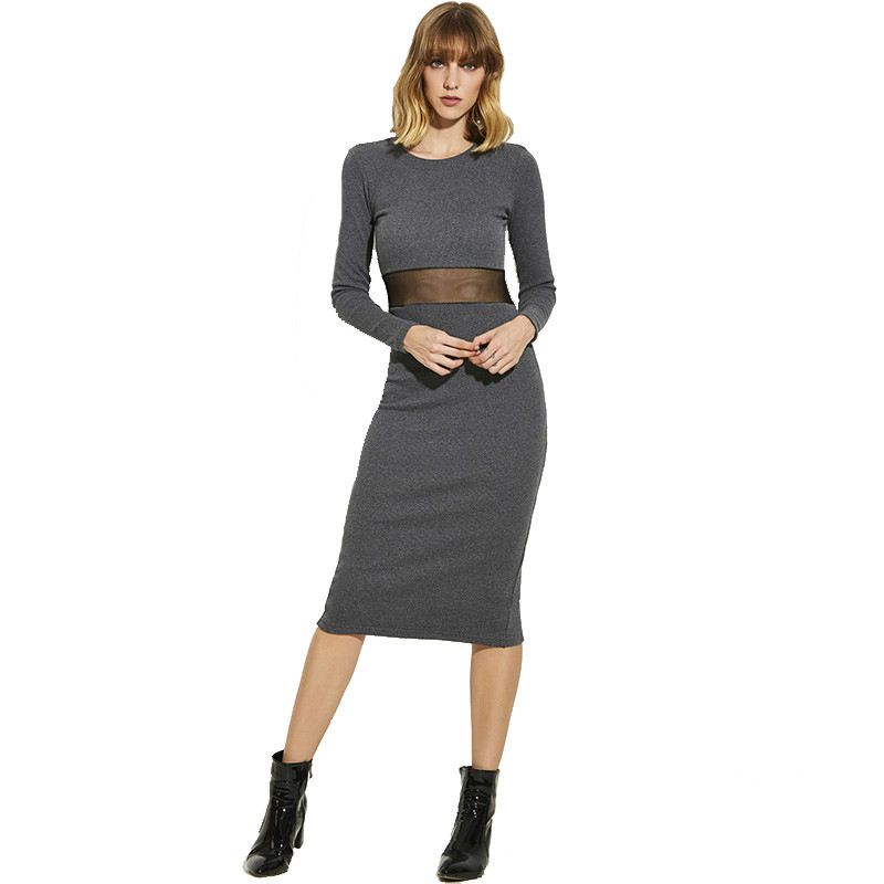 Young17 Women Autumn Dress Girls Red Long Sleeve O Neck Bodycon Sexy Mid Calf Solid Black