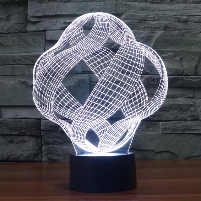 3D Lámpara de la Ilusión Óptica Visual Elstey Increíble Led Luz de La Noche Placa de Guía de Luz Cambio de 7 Colores de Acrílico + ABS De Plástico Base