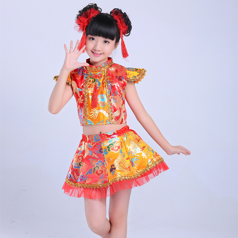 Childrens costumes performing service dragon costume drummer drumming festival of dance Yangko clothing