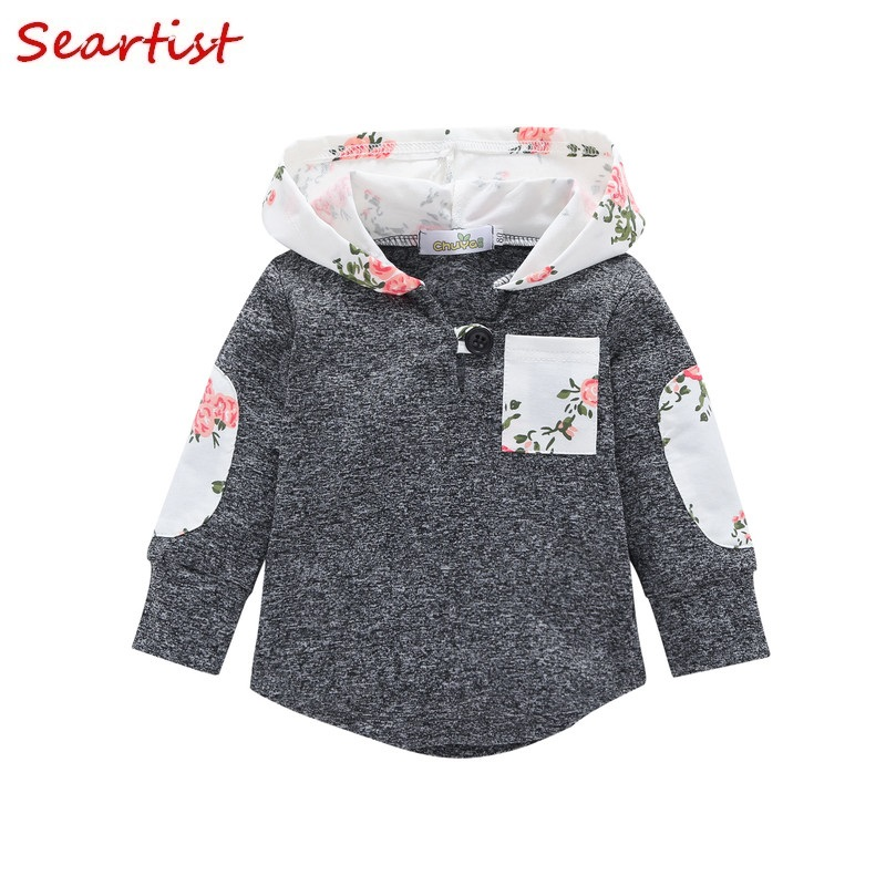 Seartist Baby Girls Floral Hoodies Girl Hooded Outfit Kids Hooded Sweatshirt Bebes Girls Clothes Baby Girl Clothes Autumn 40C недорго, оригинальная цена