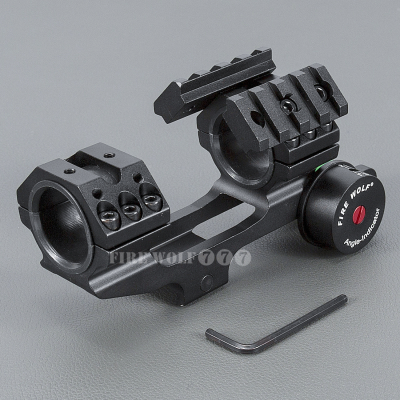 FIRE WOLF Tactical 25.4/30mm Scope Ring Base Mount with Angle Indicator and Spirit Buble Level for Hunting Accessories