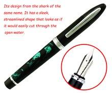 Duke 911 Celluloid Marble Green Luxurious Fountain Pen Beautiful Shark Shape Medium Nib Writing Business Office Supplies