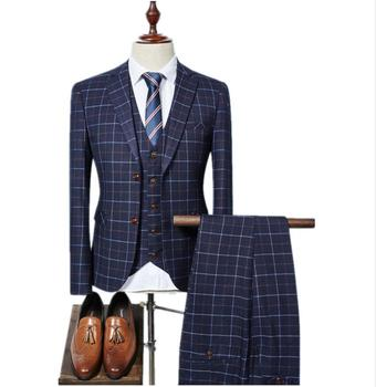2018 Manufacturers New arrival High quality single Breasted plaid casual suit men,men's Business suits plus-size Free shipping