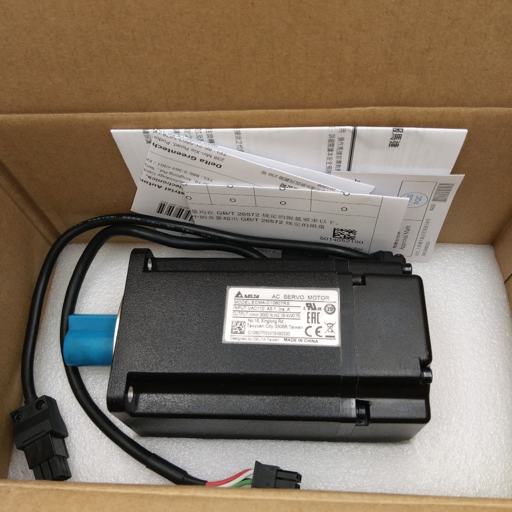 High Efficiency Delta AC Servo Motor 750W 220V 2.39NM 3000rpm ECMA-C10807RS with Keyway Oil Seal New new original 750wa2 series motor ecma c10807rs 220v 750w 2 39nm 3000rpm ac servo motor with keyway oil seal