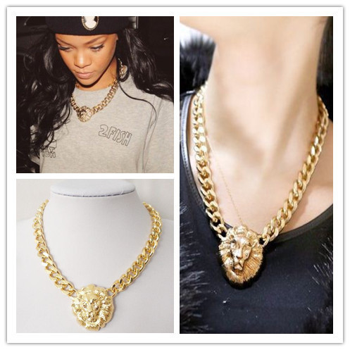 497f1b42612fdf Fashion Gold Lion Head Pendant Chunky Chain Choker Necklace for Women  Celebrity Street Style Chokers Necklace