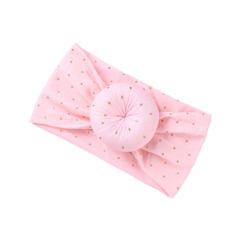 New Baby Girls Hair Accessories Super Soft Nylon Hair Band Knotted Ball Donuts Children Solid Color Headband(China)