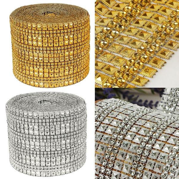 New Fashion 10 Yard Diamond Rhinestone Ribbon Mesh Wrap Wedding Party Floral Decorations Wedding Party Supplies/Favors