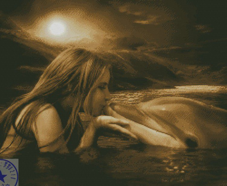 Free Delivery Top Quality Popular Counted Cross Stitch Kit Kiss Kissing Dolphin In The Sea Love